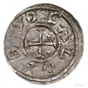 denar, Aw: Biskup z księgą i rycerz z włócznią, Rw: Krz...