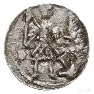denar, Aw: Rycerz przebijający włócznią smoka, Rw: Krzy...