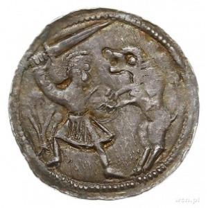 denar, Aw: Książę siedzący na tronie na wprost, obok gi...