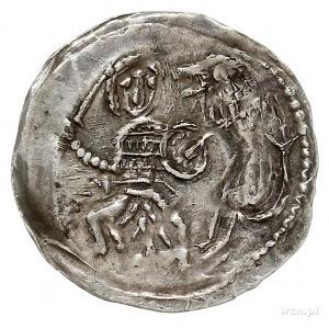 denar 1173-1185/90, Aw: Biskup stojący na wprost z krzy...