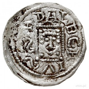 denar 1146-1157, Aw: Książęz mieczem trzymanym poziomo...
