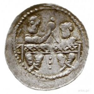 denar, Aw: Dwaj książęta za stołem, Rw: Rycerz z propor...