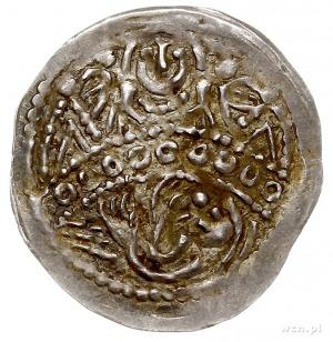 denar ok. 1254, Aw: Półpostać św. Stanisława między dwo...