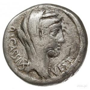 Q. Cassius Longinus 55 pne, denar 55 pne, Rzym, Aw: Gło...