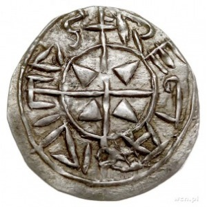 Stefan I 997-1038, denar, Aw: Krzyż z czterema grotami ...