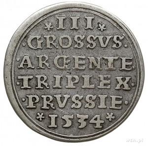 trojak 1534, Toruń, duża głowa króla w czepcu, ozdobna ...