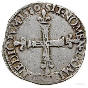 1/4 ecu 1580, Tours, tytulatura królewska wokół tarczy ...
