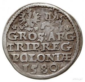 trojak 1580, Olkusz, Aw: Popiersie króla w prawo, poniż...