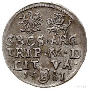 trojak 1581, Wilno, odmiana, pod popiersiem króla cyfra...
