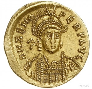Zenon 476-491, solidus, Konstantynopol, Aw: Popiersie c...