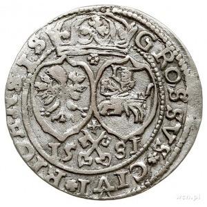 grosz 1581, Ryga, odmiana z herbami Polski i Litwy, Ger...