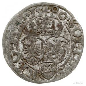 szeląg 1580, Olkusz, odmiana z herbem Jastrzębiec zarzą...