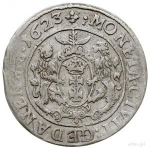 ort 1623, Gdańsk, typ monety bez cyfr 1 - 6 przy popier...