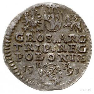 trojak 1591, Olkusz, Iger O.91.1.d (R1), patyna, piękny