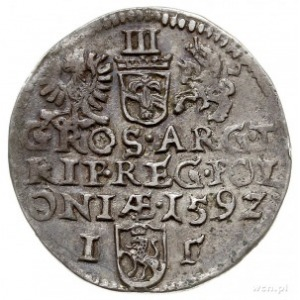 trojak 1592, Olkusz, pełna data kończy napis w trzecim ...