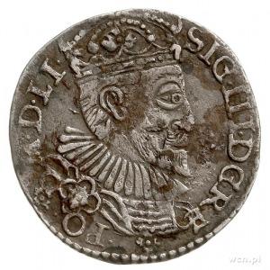 trojak 1592, Olkusz, z kokardą pod kryzą, Iger O.92.6.e...