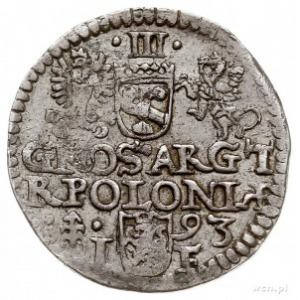 trojak 1593, Olkusz, znak mennicy na rewersie z lewej s...