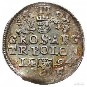 trojak 1594, Olkusz, Iger O.94.9.h/g, tęczowa patyna, b...