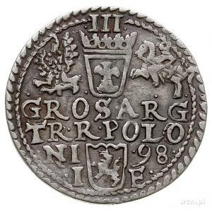 trojak 1598, Olkusz, rozetki pod popiersiem, Iger O.98....