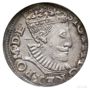 trojak 1590, Poznań, Iger P.90.5.b, moneta w pudełku NG...