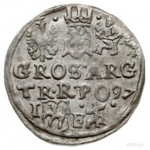 trojak 1597 Lublin, monogram zarządcy mennicy Melchiora...