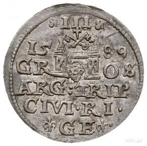 trojak 1589, Ryga, litery GE pomiędzy lilijkami, Iger R...