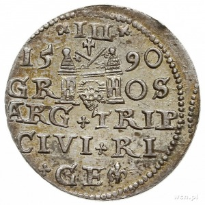 trojak 1590, Ryga, małe popiersie króla, Iger R.90.1.b,...