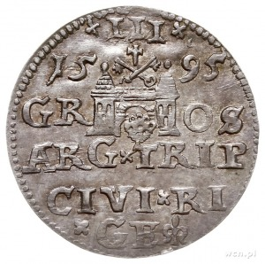 trojak 1595, Ryga, na awersie odmiana napisu LIV, Iger ...