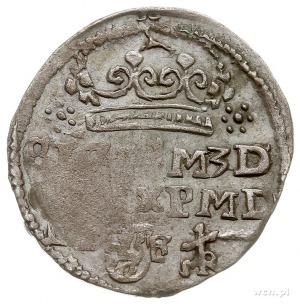 grosz 1597, Lublin, Aw: Korona, poniżej napis SIG(IS)M ...