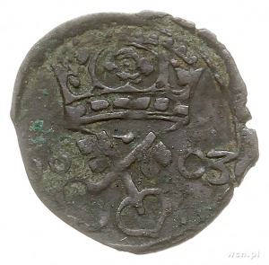denar 1603, Poznań, Aw: Orzeł, Rw: Herb Poznania i data...