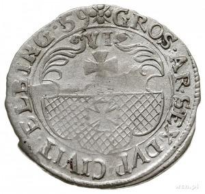 szóstak 1659, Elbląg, okupacja szwedzka, na awersie pop...