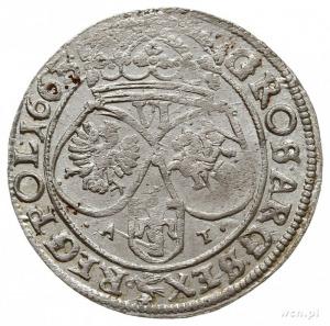 szóstak 1663, Kraków, litery A - T na rewersie, bardzo ...