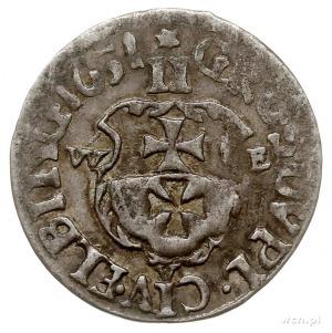 dwugrosz 1651, Elbląg, Aw: Popiersie króla i napis woko...