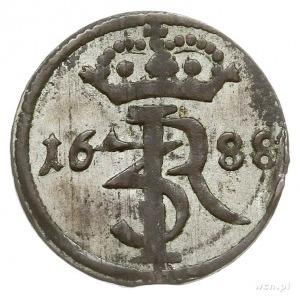 szeląg 1688, Gdańsk, Aw: Ukoronowany monogram królewski...