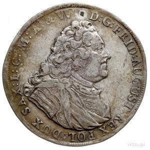 talar 1737, Drezno, Aw: Popiersie króla w prawo, Rw: Dw...