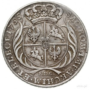talar 1755, Lipsk, Aw: Popiersie w prawo i napis wokoło...