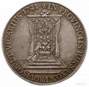 półtalar wikariacki 1741, Drezno, Aw: Król na koniu, Rw...