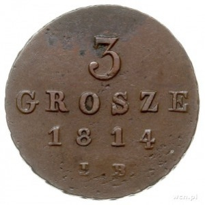3 grosze 1814, Warszawa, Iger KW.14.1.a, Plage 92, paty...