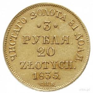 3 ruble = 20 złotych 1835, Petersburg, złoto 3.92 g, Pl...