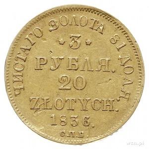 3 ruble = 20 złotych 1836, Petersburg, złoto 3.86 g, Pl...