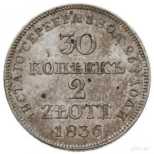 30 kopiejek = 2 złote 1836, Warszawa, zwykła cyfra 6 w ...