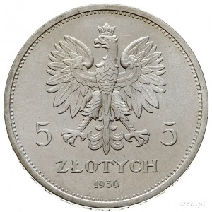 """5 złotych 1930, Warszawa, """"Sztandar"""", moneta wybita pły..."""