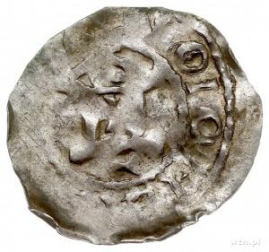 Konrad II, Moguncja, denar, Aw: Krzyż z kulkami w kątac...