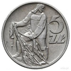 5 złotych 1958, Warszawa, Rybak, wąska cyfra 8 i 2 słon...