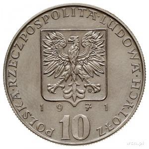 10 złotych 1971, Warszawa, FAO, na rewersie wypukły n...