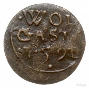 szerf 1591, Szczecin, Aw: Napis, Rw: Gryf w lewo, miedź...