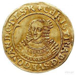 dukat 1642, Szczecin, Aw: Duże popiersie królowej w lew...
