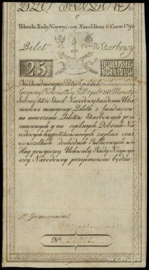 25 złotych polskich 8.06.1794, seria C, numeracja 33923...