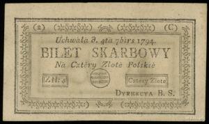 """4 złote polskie 4.09.1794, seria 2-C, z błędem """"7birs"""" ..."""
