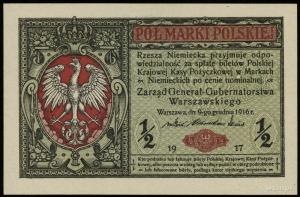 1/2 marki polskiej 9.12.1916, Generał, seria B, numerac...